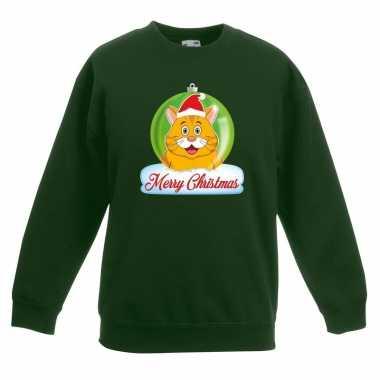 Kersttrui oranje kat / poes kerstbal groen jongens meisjes