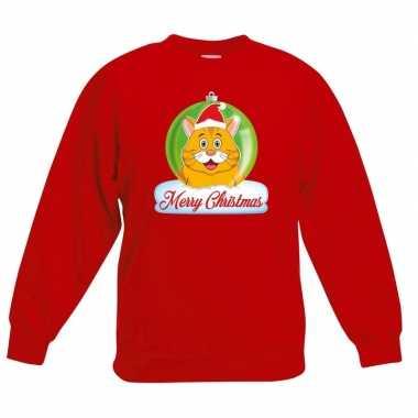 Kersttrui oranje kat / poes kerstbal rood jongens meisjes