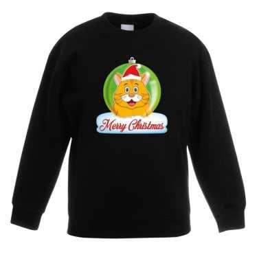 Kersttrui oranje kat / poes kerstbal zwart jongens meisjes
