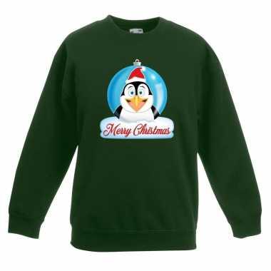 Kersttrui pinguin kerstbal groen jongens meisjes