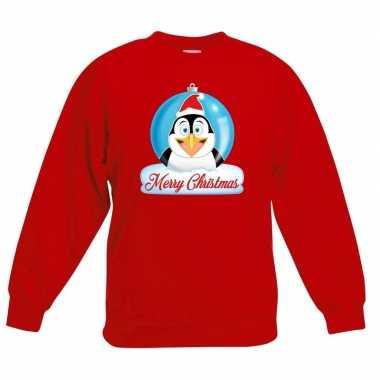 Kersttrui pinguin kerstbal rood jongens meisjes