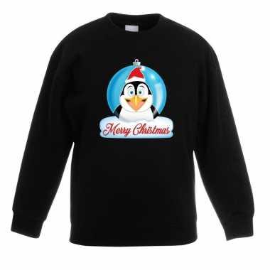 Kersttrui pinguin kerstbal zwart jongens meisjes