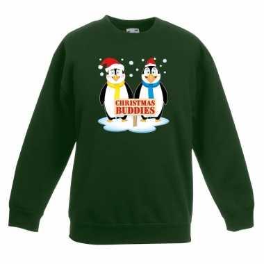 Kersttrui pinguin vriendjes groen jongens meisjes