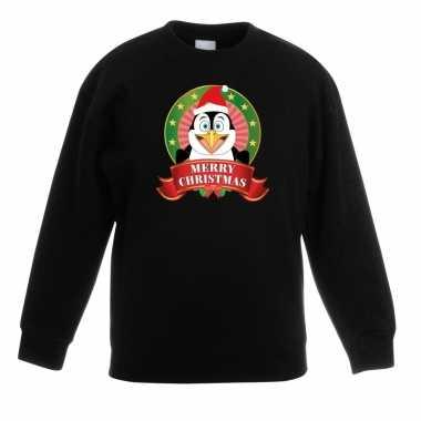 Kersttrui pinguin zwart jongens meisjes