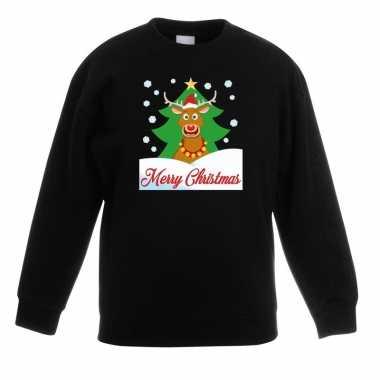 Kersttrui rudolf kerstboom zwart jongens meisjes