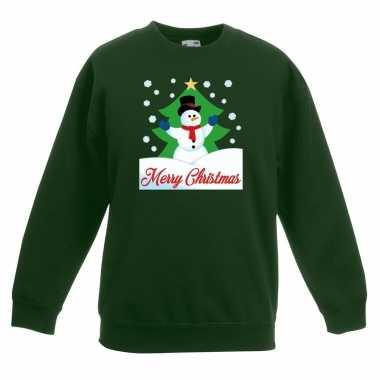 Kersttrui sneeuwman kerstboom groen jongens meisjes
