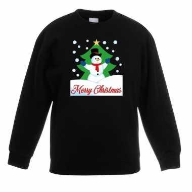 Kersttrui sneeuwman kerstboom zwart jongens meisjes