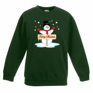 Kersttrui sneeuwpop groen jongens meisjes