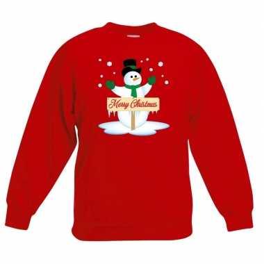 Kersttrui sneeuwpop rood jongens meisjes