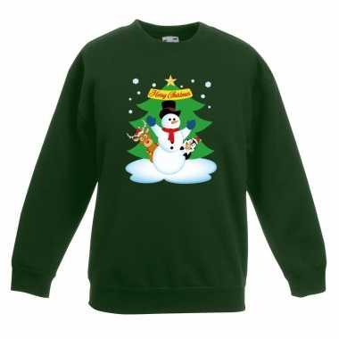 Kersttrui sneeuwpop vrienden kerstboom groen jongens meisjes