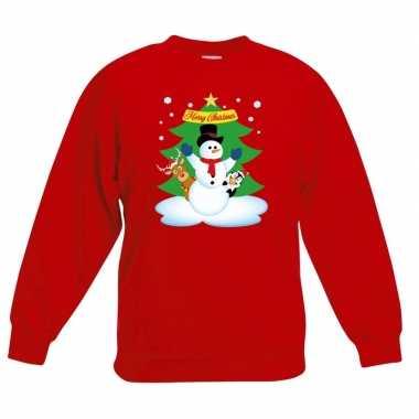 Kersttrui sneeuwpop vrienden kerstboom rood jongens meisjes
