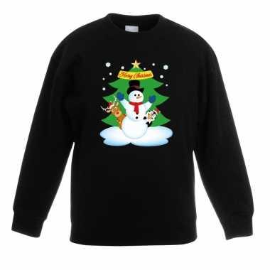 Kersttrui sneeuwpop vrienden kerstboom zwart jongens meisjes
