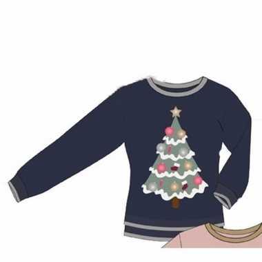 Lelijke blauwe dames kersttrui kerstboom