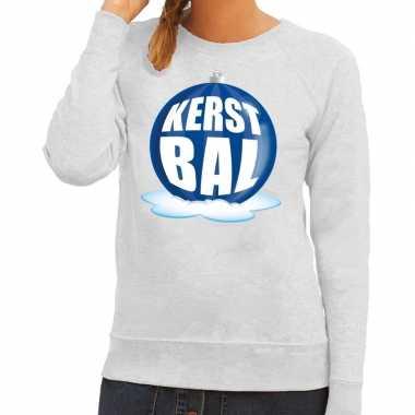 Lelijke feest kerst sweater blauwe kerstbal grijze sweater dames