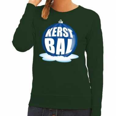 Lelijke feest kerst sweater blauwe kerstbal groene sweater dames