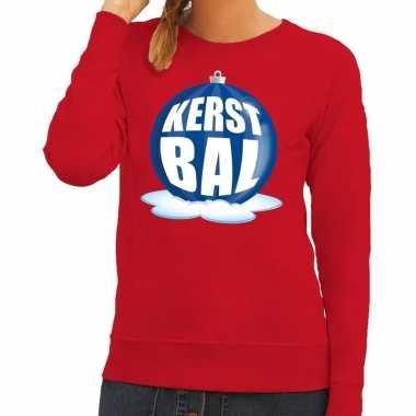 Lelijke feest kerst sweater blauwe kerstbal rode sweater dames