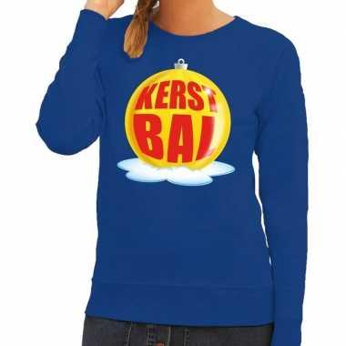 Lelijke feest kerst sweater gele kerstbal blauwe sweater dames