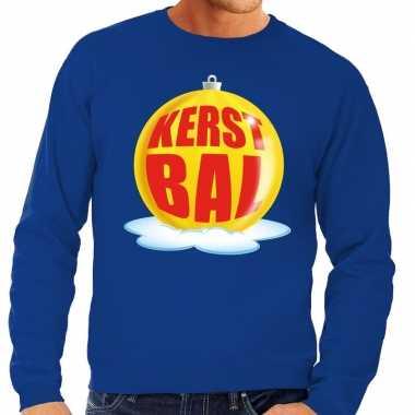 Lelijke feest kerst sweater gele kerstbal blauwe sweater heren