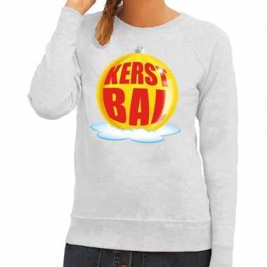 Lelijke feest kerst sweater gele kerstbal grijze sweater dames