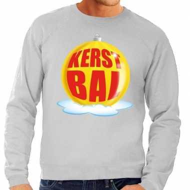 Lelijke feest kerst sweater gele kerstbal grijze sweater heren