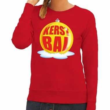 Lelijke feest kerst sweater gele kerstbal rode sweater dames