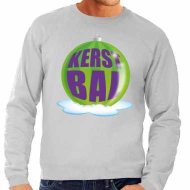 Lelijke feest kerst sweater groene kerstbal grijze sweater heren