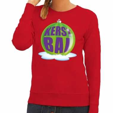 Lelijke feest kerst sweater groene kerstbal rode sweater dames