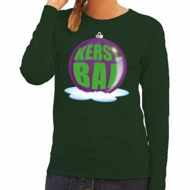 Lelijke feest kerst sweater paarse kerstbal groene sweater dames