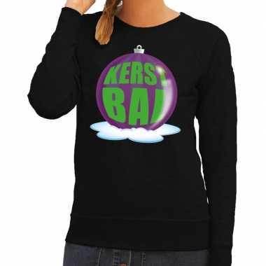 Lelijke feest kerst sweater paarse kerstbal zwarte sweater dames