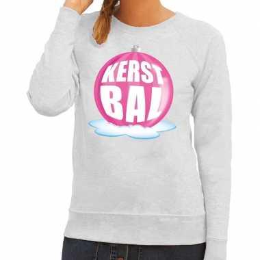 Lelijke feest kerst sweater roze kerstbal grijze sweater dames