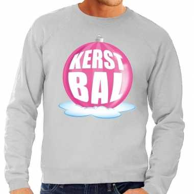 Lelijke feest kerst sweater roze kerstbal grijze sweater heren