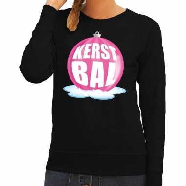 Lelijke feest kerst sweater roze kerstbal zwarte sweater dames