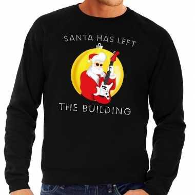 Lelijke feest kerst sweater zwart santa has left the building heren
