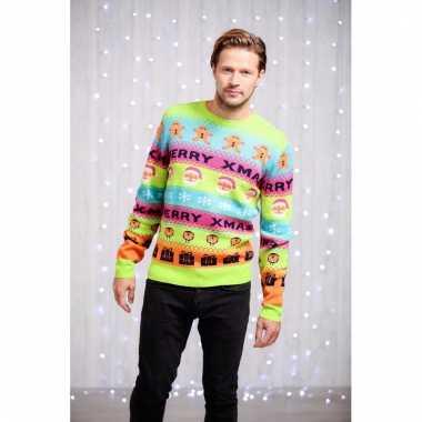 Lelijke heren kersttrui felle kleurenprint