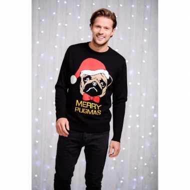 Lelijke heren kersttrui merry pugmas