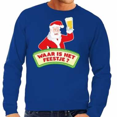 Lelijke kerst sweater blauw dronken kerstman bier heren