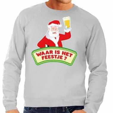 Lelijke kerst sweater grijs dronken kerstman bier heren
