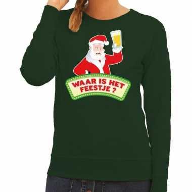 Lelijke kerst sweater groen dronken kerstman bier dames