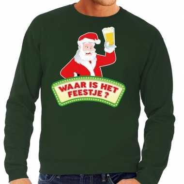 Lelijke kerst sweater groen dronken kerstman bier heren