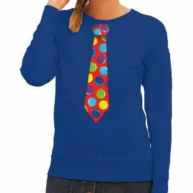 Lelijke kerst sweater kerstballen stropdas blauw dames