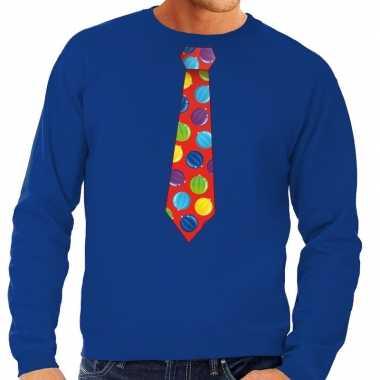 Lelijke kerst sweater kerstballen stropdas blauw heren