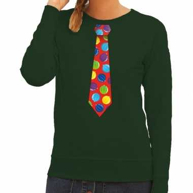 Lelijke kerst sweater kerstballen stropdas groen dames