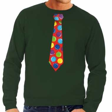 Lelijke kerst sweater kerstballen stropdas groen heren