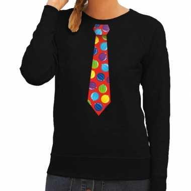 Lelijke kerst sweater kerstballen stropdas zwart dames