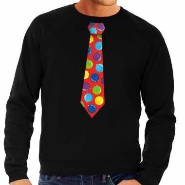 Lelijke kerst sweater kerstballen stropdas zwart heren