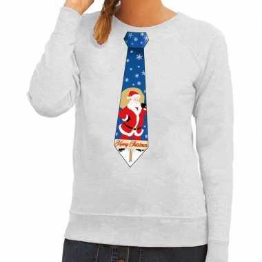 Lelijke kerst sweater kerstman stropdas grijs dames