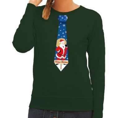 Lelijke kerst sweater kerstman stropdas groen dames