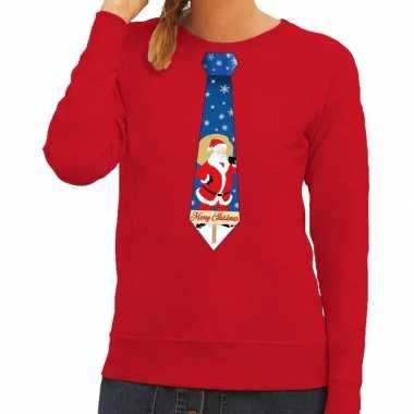 Lelijke kerst sweater kerstman stropdas rood dames