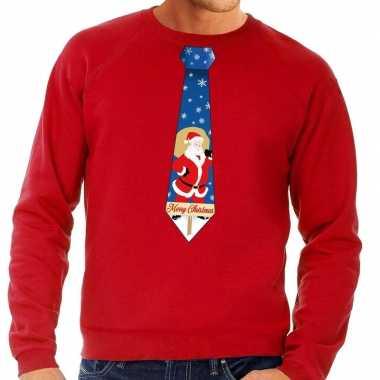Lelijke kerst sweater kerstman stropdas rood heren