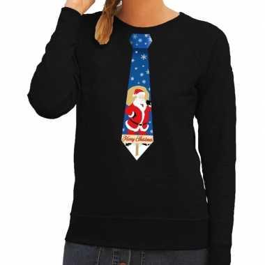 Lelijke kerst sweater kerstman stropdas zwart dames